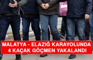 Malatya-Elazığ Karayolunda 4 Kaçak Göçmen Yakalandı