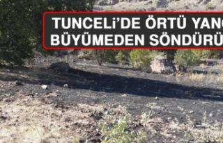 Tunceli'de Örtü Yangını Büyümeden Söndürüldü