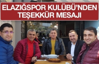 Elazığspor Kulübü'nden Teşekkür Açıklaması