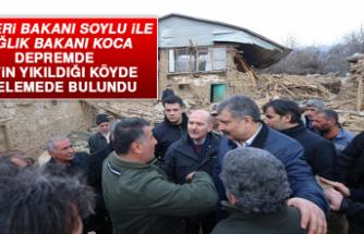 Bakan Soylu İle Bakan Koca Depremde 6 Evin Yıkıldığı Köyde İncelemede Bulundu