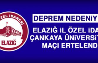 Elazığ İl Özel İdare - Çankaya Üniversitesi Maçı Ertelendi