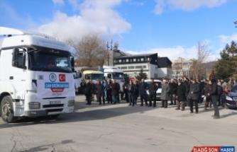 Erzincan'dan İdlib'e 20 tır insani yardım malzemesi