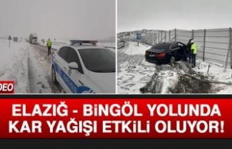 Elazığ - Bingöl Yolunda Kar Yağışı Etkili Oluyor