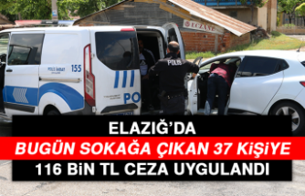 Elazığ'da Bugün Sokağa Çıkan 37 Kişiye 116 Bin TL Ceza Uygulandı