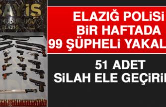 Elazığ Polisi Bir Haftada 99 Şüpheli Yakaladı, 51 Adet Silah Ele Geçirdi