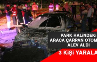 Park Halindeki Araca Çarpan Otomobil Alev Aldı