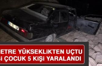 Elazığ'da Bir Araç 6 Metre Yükseklikten Aşağıya Uçtu