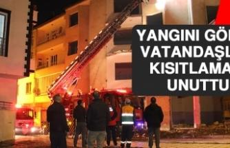 Yangını Gören Vatandaşlar Kısıtlamayı Unuttu