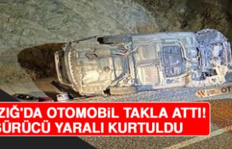 Elazığ'da Otomobil Takla Attı, Sürücü Yaralı Kurtuldu