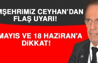 Prof. Dr. Ceyhan: 18 Mayıs ve 18 Haziran'a Dikkat!