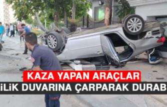 Kaza Yapan Araçlar Valilik Duvarına Çarparak Durabildi!