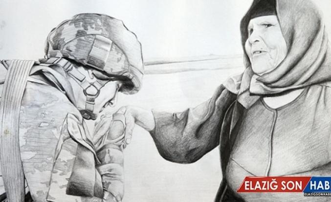 Mehmetçiğin ellerinden kara kalem resim çalışması