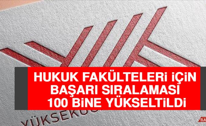 Hukuk Fakülteleri İçin Başarı Sıralaması 100 Bine Yükseltildi