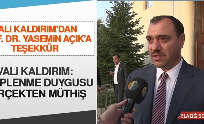 Vali Kaldırım'dan Prof. Dr. Yasemin Açık'a Teşekkür